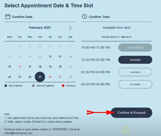 select appointment date and time