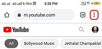tab on youtube three dots